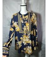 Charter Club Womens Floral Blouse Gold Standard intrpd bleu cmb button u... - $24.63