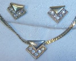 AVON Serpentine Necklace Triangular RS Pendant & Matching Pierced Earrin... - $9.89