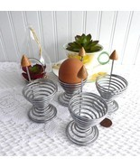 Industrial Eggcups 1960s Retro English Egg Cups Wire And Wood Set Of 4 - $48.00