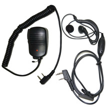 HQRP Kit: 2-Pin Mini Speaker Mic + Earpiece mic Headset for Kenwood TH T... - $24.07