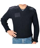Black Wool V-Neck Sweater Military Commando Uniform Epaulets Unisex Cold... - $81.99