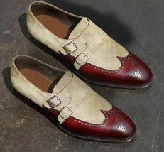 Handmade Men's Burgundy & Beige Heart Medallion Wing Tip Leather & Suede Shoes image 4