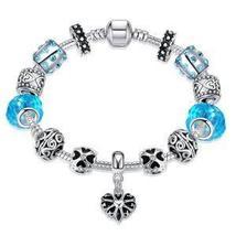 Aquamarine Crystal Heart Pandora Inspired Bracelet - $27.54