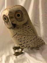 Wooden Owl Figurine Hand Painted With Golden Claws Vintage Made In India... - $59.39