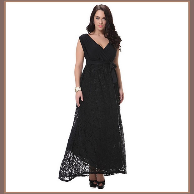 Long Sleeveless Black Lined Lace Maxi Empire Ribbon Tied Waist V Neck Plus Gown