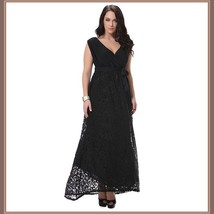 Long Plus Size Sleeveless Black Lined Lace Maxi W/ Ribbon Tied Empire Waist Gown