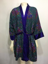Victorias Secret Satin Short Robe Purple Green Paisley Floral One Size H... - $37.73