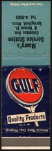 Vintage matchbook cover GULF gas oil Maurys Service sign pic Springfield... - $8.09