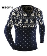 WSGYJ Male 2018 Men'S Fashion Animal Print Sweater Men Leisure Slim Pull... - $38.76