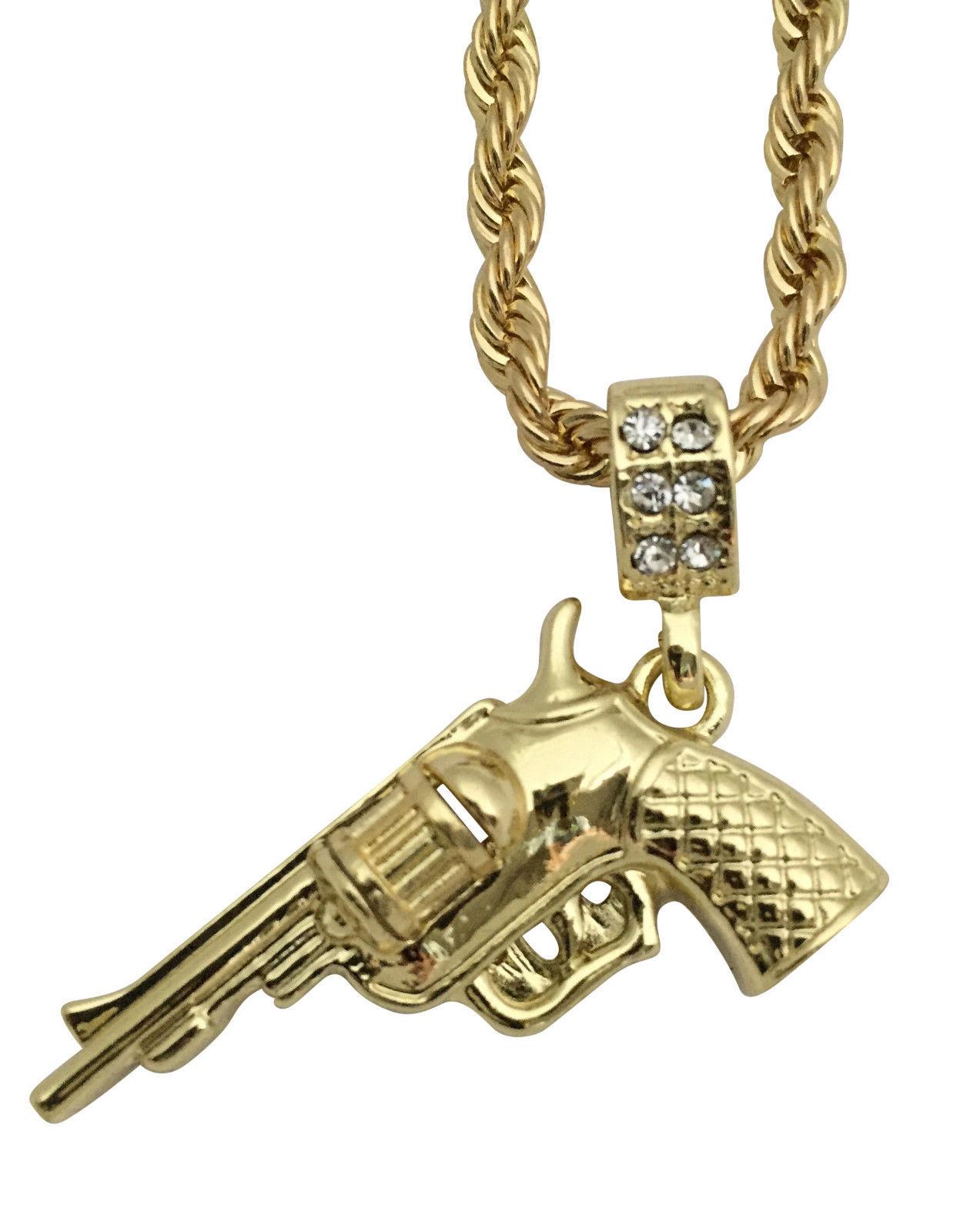 "Hip Hop Silver Magnum Gun Revolver Pistol Pendant Necklace 30"" Rope Chain"