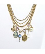 Multiple Chain Necklace, Multi Chains, Boho, White Pearls, Rhinestones, ... - $22.00