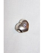 Pandora Sterling Silver Heart Charm w/Clear CZ-3/8 inch tall, 1/2 inch wide - $12.50