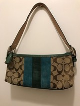 Authentic Coach logo Jacquard Purse w/ Leather - $18.70