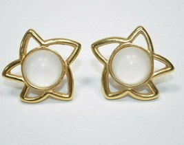 Monet Signed Gold Tone Star Earrings with Milky Cab Centers - Pierced - $14.54