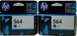 2 HP 564 Cyan Standard Ink Cartridges Exp Jan2021 New & Sealed In Pack. - $21.87