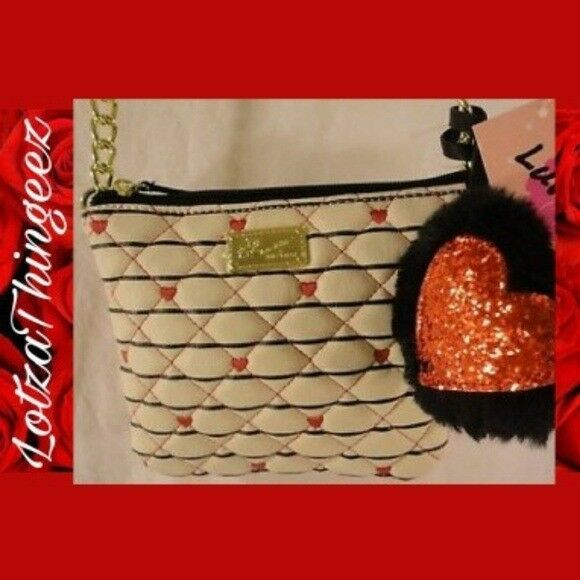 Betsey Johnson White Red Black Diamond Quilted Heart Crossbody 2 Part Mini New