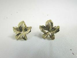 Vintage Goldtone Leaf Pierced Earrings Gold Tone 51383 - $12.86