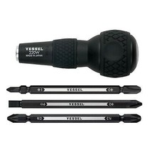 "VESSEL BALL GRIP 1/4"" Hex. Bit Interchangeable Screwdriver (Bit 3PC. (+1... - $19.14"