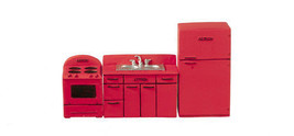 """DOLLHOUSE MINIATURES 1/2"""" SCALE 3PC RED 1950'S KITCHEN SET  #T0272 - $24.74"""