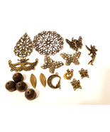 17 bronze tone mixed metal charms pendants lot filigrees bead caps 15mm ... - $3.99