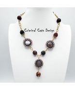 """Necklace with Cranberry Mother of Pearl, Faceted Gemstone rounds  """"Greek... - $37.80"""
