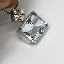 Halskette Weißgold 750 - 18k, Anhänger Aquamarin Schliff Smaragd und Diamanten image 5
