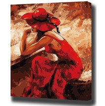 Paint By Number Kit Red Dress Hat Girl People Vintage DIY Picture 40x50c... - $10.99