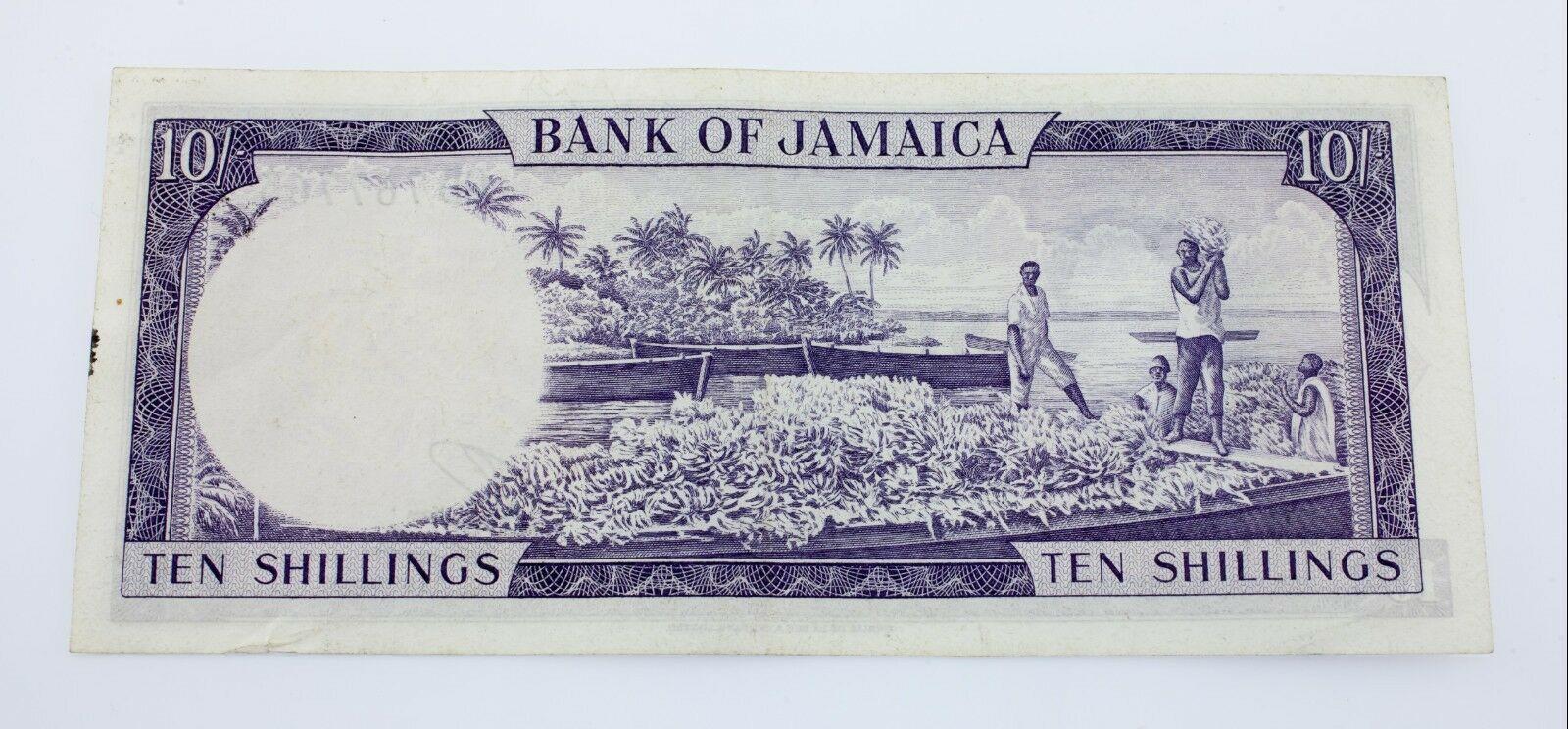 1960 Jamaica 10 Chelines Billete XF Estado Pick # 50