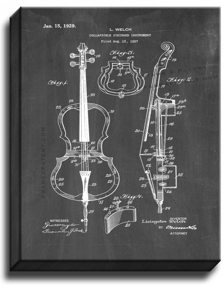 Primary image for Collapsible Stringed Instrument Patent Print Chalkboard on Canvas