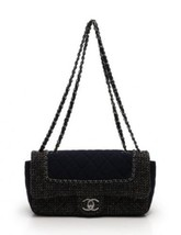 Auth CHANEL Double chain shoulder bag Brown Leather Tweed Medium RCB0195 - $3,757.05