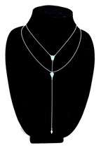 Sterling Double Y Silver Chain Necklace Polished Turquoise Accent Minimalistic - $65.55