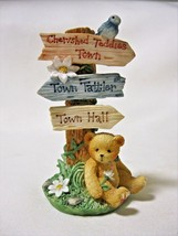 Cherished Teddies TOWN TATTLERS SIGNAGE Bear By Sign Post CRT109 IOB - $12.99
