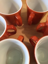 Vintage 60s set of 6 Corelle by Pyrex Burnt Orange mugs (discontinued and rare) image 2