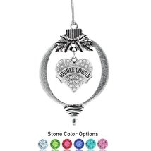 Inspired Silver Middle Cousin Pave Heart Holiday Ornament- Select Your Stone Col - $14.69