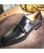 Handmade Men's Double Monk Black Leather Oxfords Formal Shoes - $179.99+