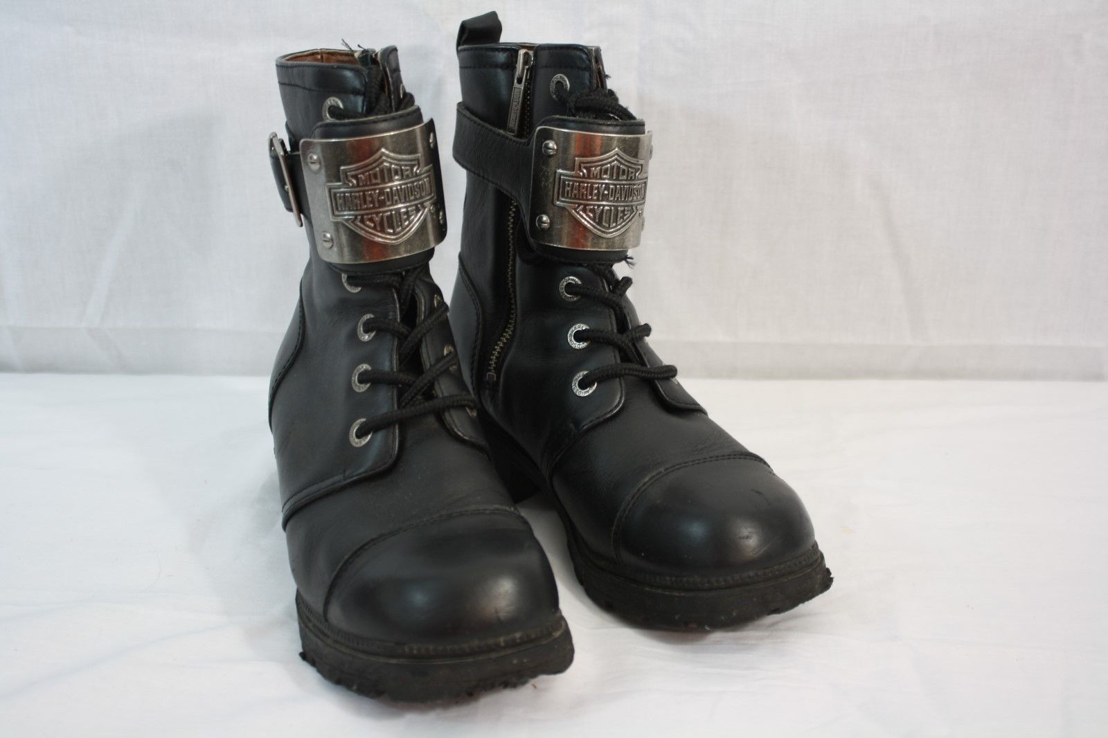 1b42ea88f5cb S l1600. S l1600. Women s Harley Davidson Black Leather Ankle Boots Size 7  - Metal Plate. Women s ...