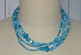 Blue Art Glass Bead Beaded Multi Strand Necklace Choker Vintage - $29.69