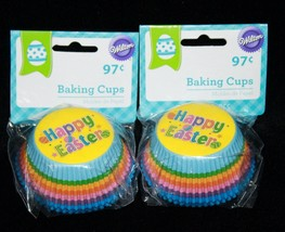 HAPPY EASTER 100 Wilton Cupcake Standard Liners RAINBOW Baking Cups SPRI... - $3.59