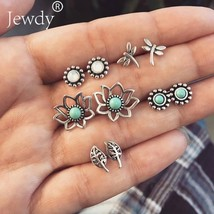 Jewdy® 5 Pairs/Set Boho Lotus Leaf Flower Bohemian Earring Stud Earrings... - $3.52+