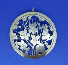 """Arts and Crafts Sterling Violets Pin Hand Wrought 2"""" Diameter (#J4463) - $195.00"""