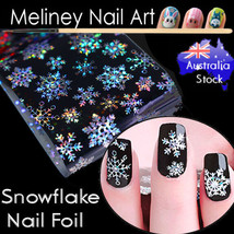 Holographic Snowflake Nail Art Foil Sticker Transfer Nail Tips winter sn... - $3.36