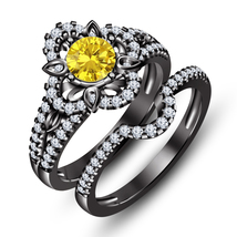 Black Gold Plated 925 Silver Round Cut Yellow Sapphire Bridal Wedding Ring Set - $101.40