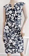 Nwt Adrianna Papell Cap Sleeve Drape Work Sheath Dress Sz 12 Black White Floral - $52.42