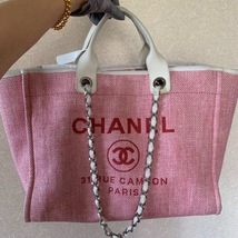 AUTHENTIC CHANEL LIGHT PINK RED CANVAS LARGE DEAUVILLE 2 WAY TOTE BAG  image 1