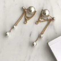 AUTH Christian Dior 2019 DIOR TRIBALES Multi Chain Dangle CD Logo Drop Earrings  image 2