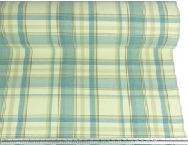 Tartan Check Wool Look and Feel Blue Cream Upholstery Fabric Material *3... - $2.98+
