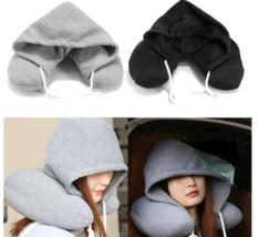 Airplane Travel Soft Hooded U-Shape Neck Pillow Sleep Support Headrest - $33.98