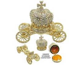 Royal Carriage Jeweled Trinket Box with Austrian  Crystals - $49.95