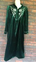 Vintage Velour Full Length Robe Large Emerald Green Gorgeous Dressing Go... - $49.50