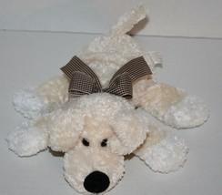 "Animal Adventure DOG 9"" Brown Gingham Bow Soft Toy Cream Plush Stuffed Animal - $15.45"